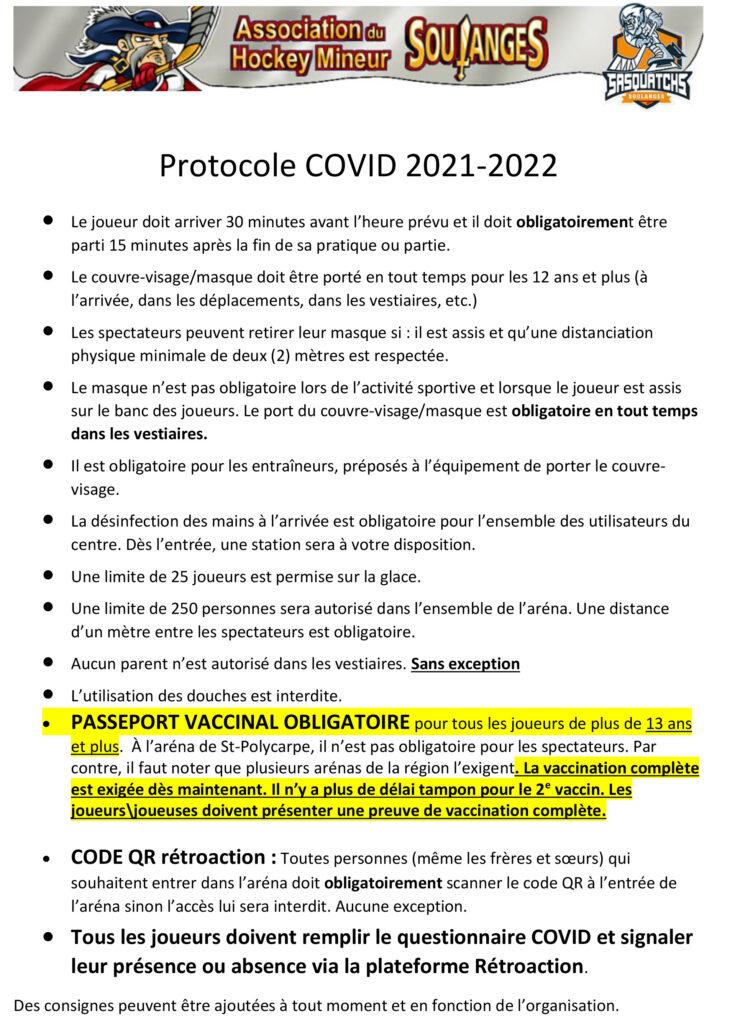 Protocole Covid 8 septembre 2021